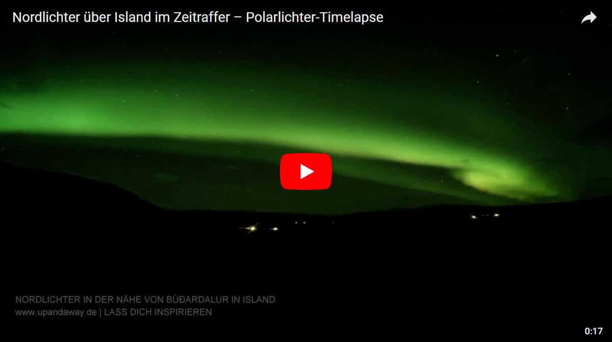 Polarlichter Timelapse: Nordlichter über Island im Zeitraffer